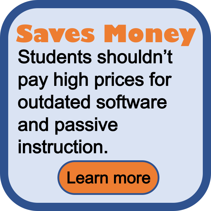 Saves money. Students shouldn't pay high prices for outdated software and passive instruction.