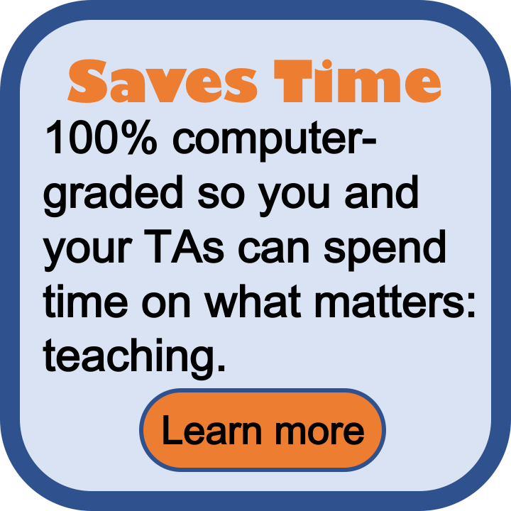 Saves time. 100% computer-graded so you and your TAs can spend time on what matters: teaching.